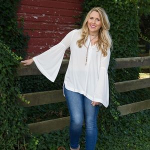 Free people Henley button, bell sleeve top